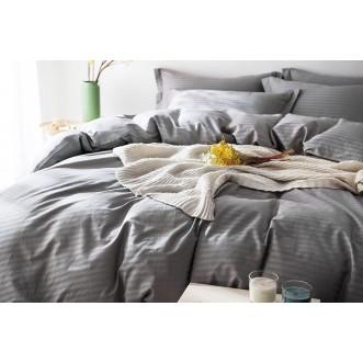 Белье постельное однотонное белье страйп сатин  CR006 евро 200х220 СИТРЕЙД