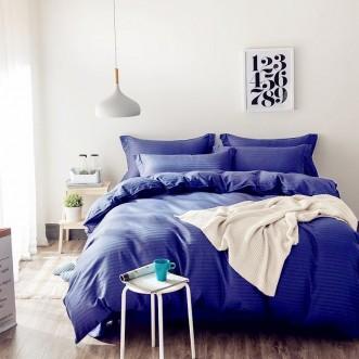 Однотонное постельное белье страйп сатин простынь на резинкеCFR003 2 спальное 180х220 СИТРЕЙД