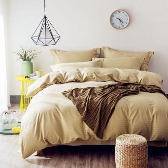 Однотонное постельное белье страйп сатин простынь на резинкеCFR004 2 спальное 180х220 СИТРЕЙД