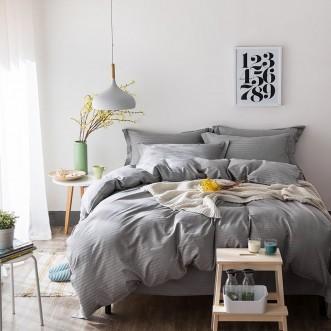 Однотонное постельное белье страйп сатин простынь на резинкеCFR006 2 спальное 180х220 СИТРЕЙД
