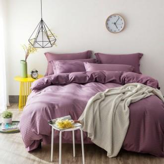 Однотонное постельное белье страйп сатин простынь на резинкеCFR008 2 спальное 180х220 СИТРЕЙД