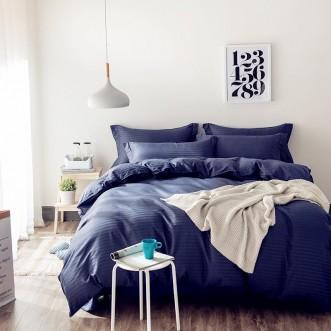 Однотонное постельное белье страйп сатин простынь на резинкеCFR010 2 спальное 180х220 СИТРЕЙД