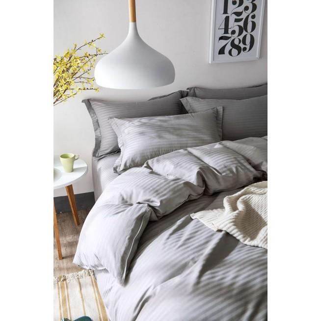 Однотонное страйп сатин белье постельное простынь на резинке CFR006 евро 200х220 СИТРЕЙД