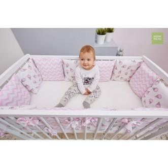 Купить бортики в кроватку 12 шт Розовые мечты со съемными чехлами Mama Relax в магазине Lux Postel