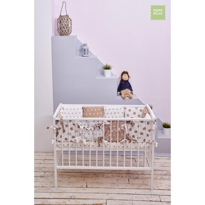 Купить бортики в кроватку Кофейные звезды со съемными чехлами 12 шт Mama Relax в магазине Lux Postel