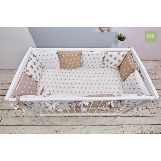 Бортики в кроватку Кофейные звезды со съемными чехлами 12 шт Mama Relax