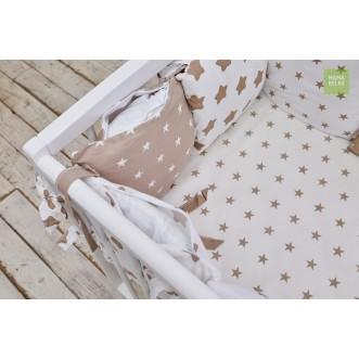 Бортики в кроватку Кофейные звезды со съемными чехлами 12 шт Mama Relax фото