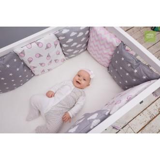 Купить бортики в кроватку Клубника со сливками со съемными чехлами 12 шт Mama Relax в магазине Lux Postel