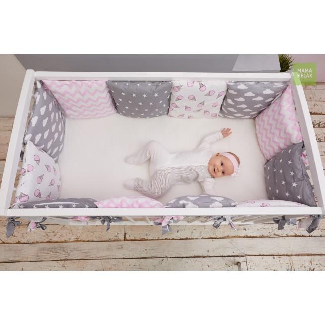 Бортики в кроватку Клубника со сливками со съемными чехлами 12 шт Mama Relax