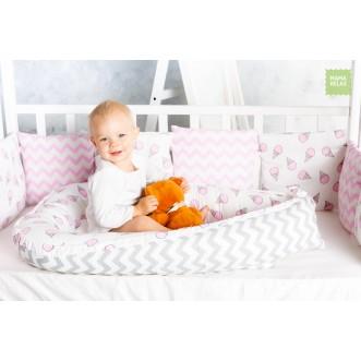 Купить гнездышко для новорожденного Клубника со сливками Mama Relax в магазине Lux Postel