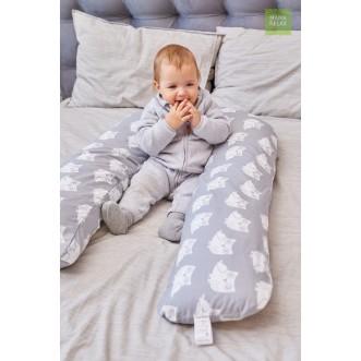 Купить наволочку для подушки U280 Mama Relax Совята на сером в магазине Lux Postel