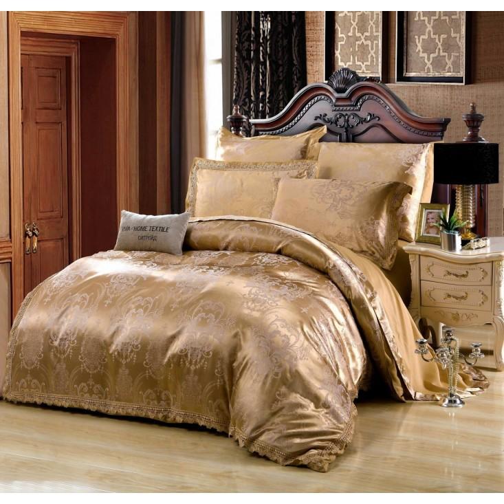 Постельное белье жаккард с вышивкой H047 2 спальное СИТРЕЙД