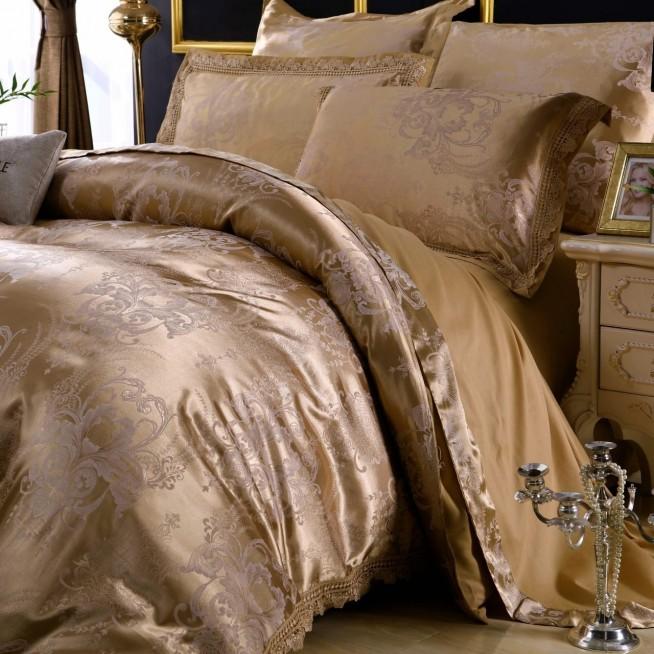 Белье постельное жаккард с вышивкой H047 2 спальное СИТРЕЙД