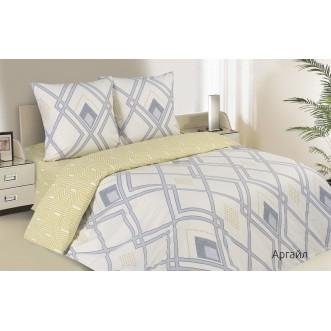 Купить постельное белье поплин 2 спальное простынь на резинке Аргайл Экотекс