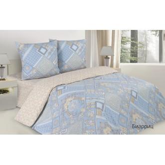 Купить постельное белье поплин 2 спальное простынь на резинке Биарриц Экотекс