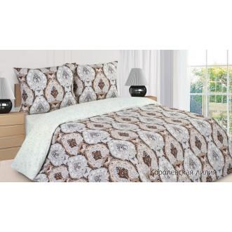 Купить постельное белье поплин евро простынь на резинке Королевская Лилия Экотекс