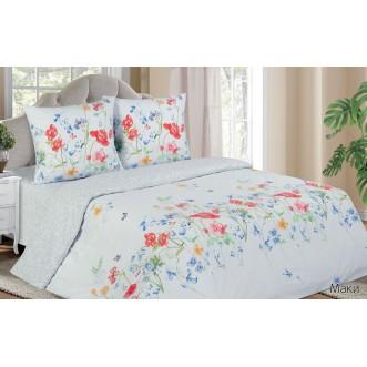 Купить постельное белье поплин 2 спальное простынь на резинке Маки Экотекс