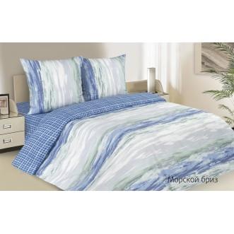 Купить постельное белье поплин евро простынь на резинке Морской Бриз Экотекс