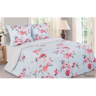 Купить постельное белье поплин 2 спальное простынь на резинке Розали Экотекс