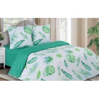 Купить постельное белье поплин евро простынь на резинке Тропики Экотекс