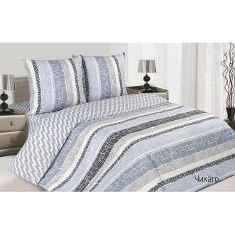 Купить постельное белье поплин 2 спальное простынь на резинке Чикаго Экотекс