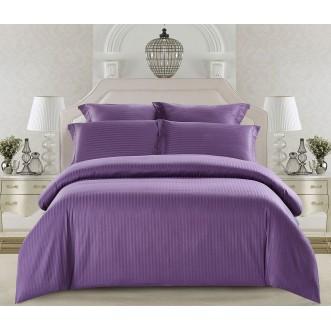 Купить постельное белье Однотонное страйп сатин CST01-14 1/5 спальное Tango