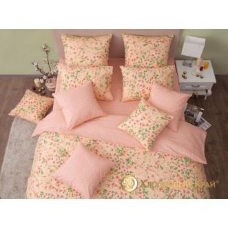 Постельное белье Сакура персик 2 спальное Хлопковый край