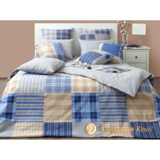 Постельное белье Манчестер синий 2 спальное Хлопковый край