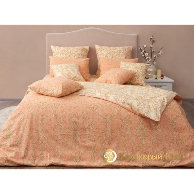 Постельное белье Генуя персик семейное Хлопковый край