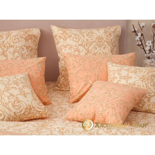 Постельное белье Генуя персик семейное Хлопковый край фото