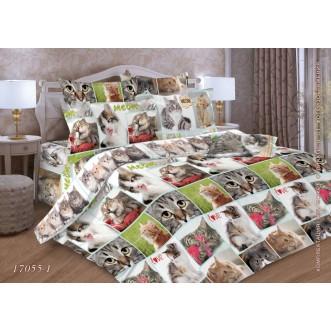 Постельное белье Коты 1,5-спальное бязь Чебоксарский текстиль
