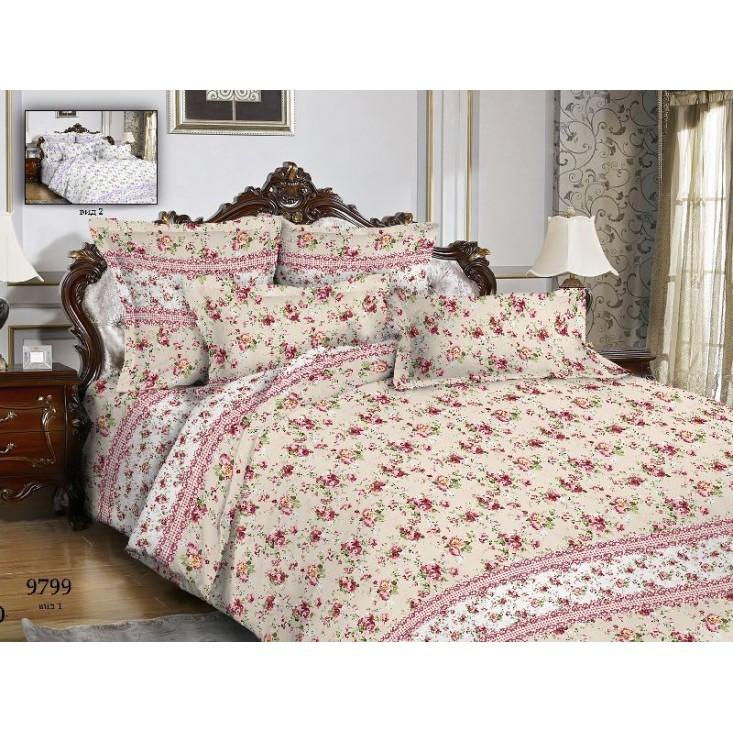Постельное белье Цветы розовые клетка 2 спальное бязь Чебоксарский текстиль