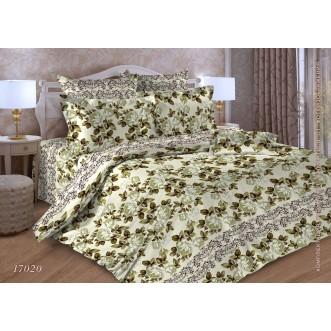 Постельное белье Цветы зеленые 2 спальное бязь Чебоксарский текстиль