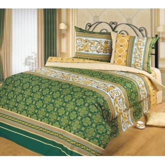 постельное белье Аристократ зеленый Евро бязь Чебоксарский текстиль