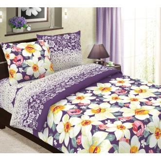 постельное белье Нарциссы вид фиолетовый Евро бязь Чебоксарский текстиль