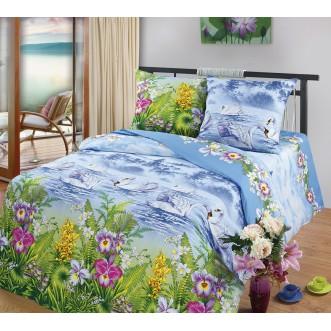 постельное белье Лебединое озеро (цветное) Евро бязь Чебоксарский текстиль