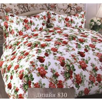 постельное белье Цветы красный Евро бязь Чебоксарский текстиль