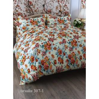 постельное белье Оранжевые цветы Евро бязь Чебоксарский текстиль