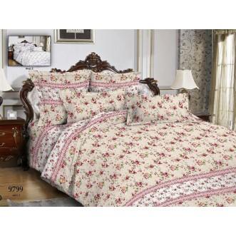 постельное белье Цветы розовые клетка Евро бязь Чебоксарский текстиль