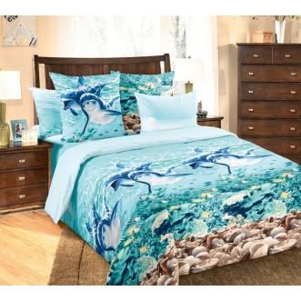 постельное белье Дельфины семейное бязь Чебоксарский текстиль