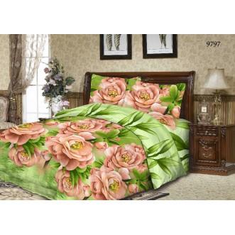 постельное белье Розы персик семейное бязь Чебоксарский текстиль
