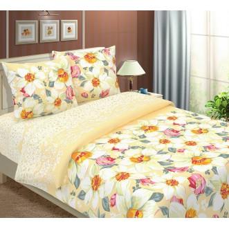 постельное белье Нарциссы вид бежевый семейное бязь Чебоксарский текстиль