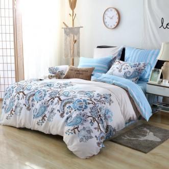 Купить постельное белье Люкс-сатин AR066 семейное простынь на резинке Ситрейд