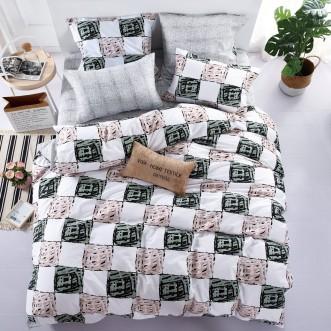 Купить постельное белье Люкс-сатин AR074 семейное простынь на резинке Ситрейд