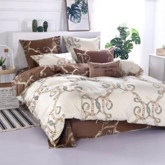 Купить постельное белье Люкс-сатин AR068 2 спальное простынь на резинке Ситрейд