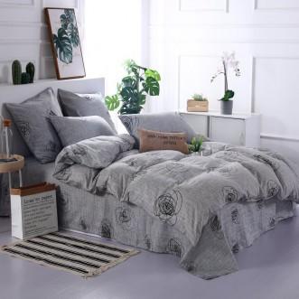 Купить постельное белье Люкс-сатин AR073 2 спальное простынь на резинке Ситрейд