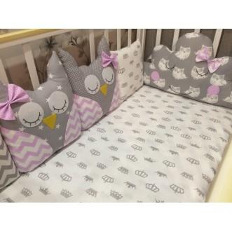 Бортики в кроватку 8 шт Совы сплюшки Lux Postel