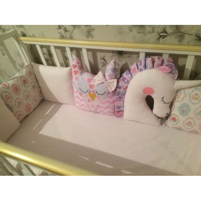 Бортики в кроватку 8 шт Сова и единорог Lux Postel