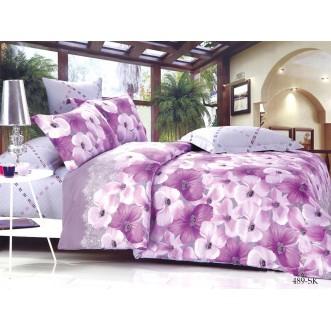 Постельное белье Satin de Lux Сиреневые цветы 1/5-спальное 489-SK Cleo