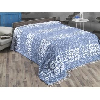 Плед хлопок Deco голубой 3077 Karna Турция